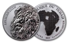 2018 Chad 5000 Franc 1-oz Silver African Lion Proof