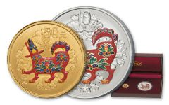 2018 China Gold Lunar Dog Colorized Set Brilliant Uncirculated 2pc Set