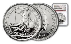 2018 Great Britain 2 Pound 1-oz Silver Britannia NGC GEM DPL First Day of Production
