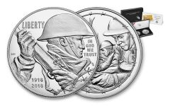 2018-P 1 Dollar Silver World War I Centennial Proof and Army Medal 2pc Set
