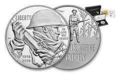 2018-P 1 Dollar Silver World War I Centennial Proof and Marine Medal 2pc Set