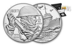 2018-P 1 Dollar Silver World War I Centennial Proof and Navy Medal 2pc Set