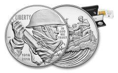 2018-P 1 Dollar Silver World War I Centennial Proof and Coast Guard 2pc Set