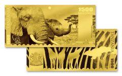 2018 Tanzania 1500 Shilling 1-gram Gold Big Five Elephant Proof-Like