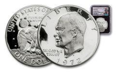 1972-S Eisenhower Dollar NGC Gem Proof Charlie Duke Signed - Black