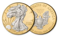 2017 1 Dollar 1-oz Silver Eagle BU With 24kt Gold Gilded Background