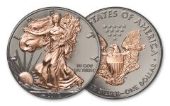 2017 1 Dollar 1-oz Silver Eagle BU Black Ruthenium and Rose Gold