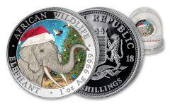2018 1-oz Silver Somalia Elephant Christmas with Snow Globe