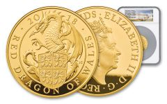 2018 Great Britain 5-oz Gold Queen's Beasts Dragon NGC PF70UCAM First Struck