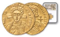 A.D. 705-711 Ancient Byzantine Justinian II Solidus 2nd Reign NGC MS