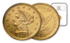 1875 2.5 Dollar Liberty Gilt Pattern NGC PF62 J-1434