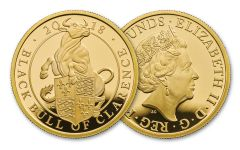 2018 Great Britain 1-oz Gold Queen's Beasts Black Bull Proof