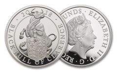 2018 Great Britain 2 Pound 1-oz Silver Queens Beast Black Bull Proof