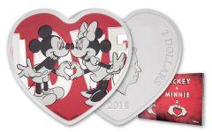 2018 Niue 2 Dollar 1-oz Silver Disney Love Heart Shaped Proof