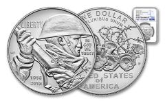 2018-P 1 Dollar Silver World War I Centennial NGC MS69 First Releases