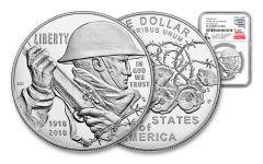2018-P 1 Dollar Silver World War I Centennial NGC PF70UCAM First Releases Everhart Signed