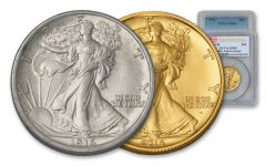 1916/2016 50 Cent Walking Liberty PCGS MS64/SP69 First Strike 2pc