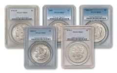 1878-1921 Morgan Silver Dollar PCGS/NGC MS63 5pc Set