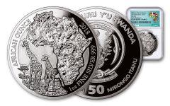 2018 Rwanda 1-oz Silver African Giraffes NGC PF69UCAM Early Releases