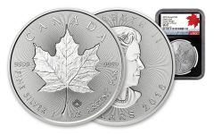 2018 Canada 1-oz Silver Incuse Maple Leaf NGC MS70 FDI 30th Anniversary Label - Black