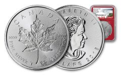 2018 Canada 5 Dollar 1-oz Silver Incuse Maple Leaf NGC MS70 First Releases - Red