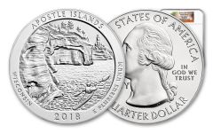 2018-P 25 Cent 5-oz Silver America The Beautiful Apostle Islands NGC MS69DPL First Releases
