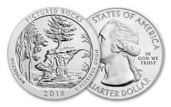 2018 25 Cent 5-oz Silver America The Beautiful Pictured Rocks National Lakeshore BU