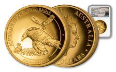 2018 Australia 2-oz Gold Wedge-Tailed Eagle HR NGC PF70UC- Mercanti Signed