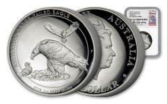 2018 Australia 100 Dollar 1-oz Silver Wedge Tailed Eagle High Relief NGC PF70UCAM Harbuz - White