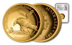 2018 Australia 100 Dollar 1-oz Gold Wedge Tailed Eagle High Relief NGC PF70UCAM Harbuz - White