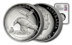 2018 Australia 1 Dollar 1-oz Silver Wedge Tailed Eagle High Relief NGC PF70UCAM Harbuz - White