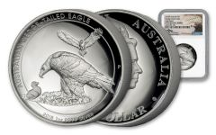 2018 Australia 1 Dollar 1-oz Silver Wedge-Tailed Eagle HR NGC PF70UCAM Mercanti Signed