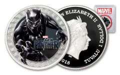 2018 Tuvalu 1 Dollar 1-oz Silver Black Panther PCGS PR70  First Strike