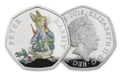 2018 Great Britain 50 Pence Silver Beatrix Potter Peter Rabbit Proof
