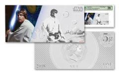 2018 Niue 1 Dollar 5 Gram Silver Foil Star Wars Luke Skywalker PMG 70 Colorized Proof-Like Note