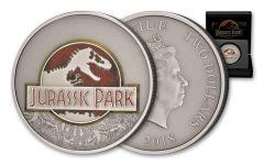 2018 Niue 2 Dollar 1-oz Silver Jurassic Park 25th Anniversary Antique Colorized BU