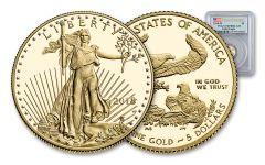 2018-W 5 Dollar 1/10-oz Gold Eagle PCGS PR70DCAM First Strike