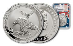 2018 Australia 1-oz Silver Wedge Tailed Eagle MS70 First Releases Mercanti Signed Flag Label