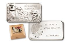 2018 Cook Islands 10 Dollar 2-oz Silver Mount Rushmore Liberty Bar Proof