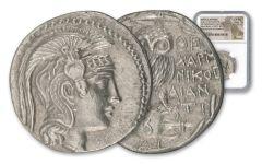132-131 B.C. Greek Silver New Style Owl Tetradrachm B/DI NGC Choice Au