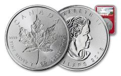 2018 Canada 1-oz Silver Incuse Maple Leaf NGC MS70 First Releases - Red
