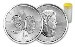 2018 Canada 5 Dollar 1-oz Silver Maple Leaf 30th Anniversary BU Roll of 25