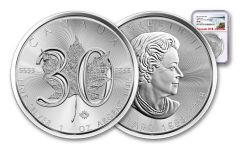 2018 Canada 5 Dollar 1-oz Silver Maple Leaf 30th Anniversary Design NGC MS69 Early Releases