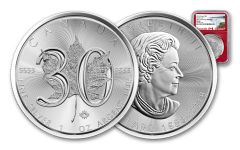 2018 Canada 5 Dollar 1-oz Silver Maple Leaf 30th Anniversary Design NGC MS69 Early Releases - Red