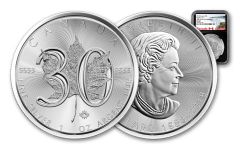2018 Canada 5 Dollar 1-oz Silver Maple Leaf 30th Anniversary Design NGC MS69 First Releases - Black