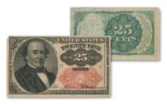1874-1876 25 Cent Fractional Currency Note Fine