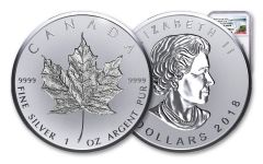 2018 Canada 20 Dollar 1-oz Silver Incuse Maple Leaf Reverse Proof NGC PF69DCAM First Releases