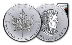 2018 Canada 1-oz Silver Incuse Maple Leaf Reverse Proof NGC PF69DCAM First Releases - Black