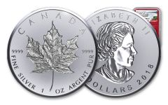 2018 Canada 20 Dollar 1-oz Silver Incuse Maple leaf Reverse NGC PF69DCAM First Releases - Red
