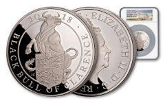 2018 Great Britain 10 Pound 5-oz Silver Queen's Beasts Black Bull NGC PF69UCAM First Releases